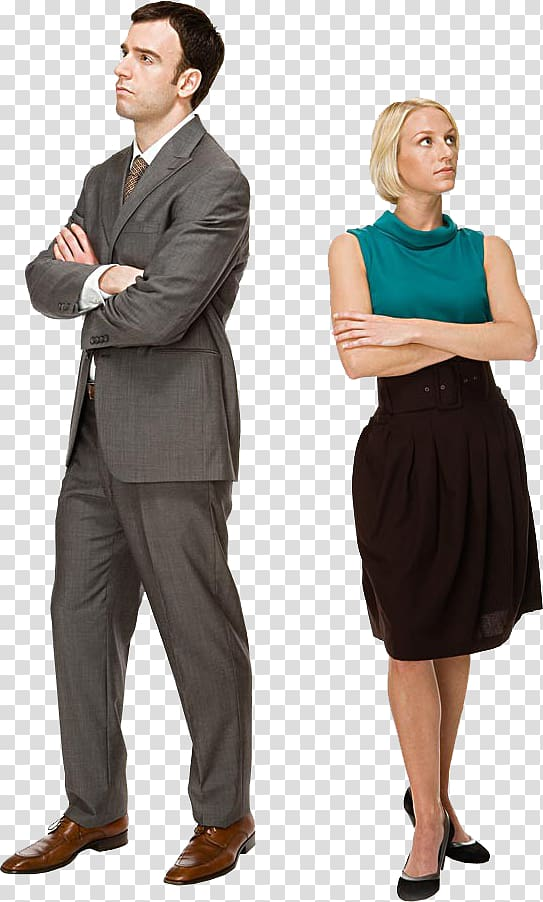 Back to back business people transparent background PNG.