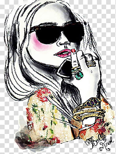 Woman wearing sunglasses painting transparent background PNG.