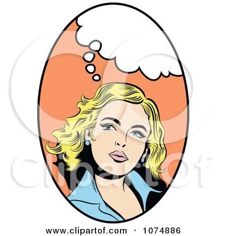 Clipart Retro Pop Art Blond Woman With A Thought Balloon In An.
