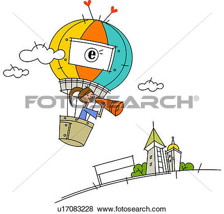 Stock Illustration of Woman using a megaphone flying in a hot air.