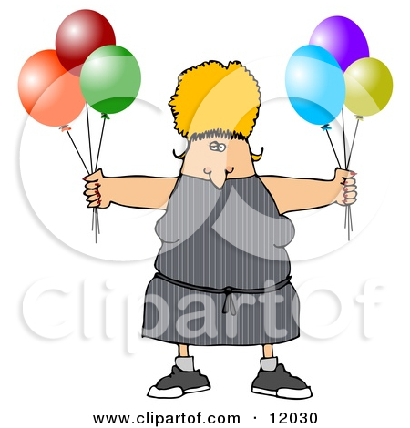 Woman Standing Happily by a Birthday Cake Clipart Illustration by.