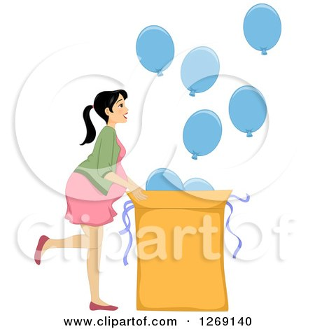 Clipart Pregnant Brunette Woman Holding Her Baby Bump Bridal.
