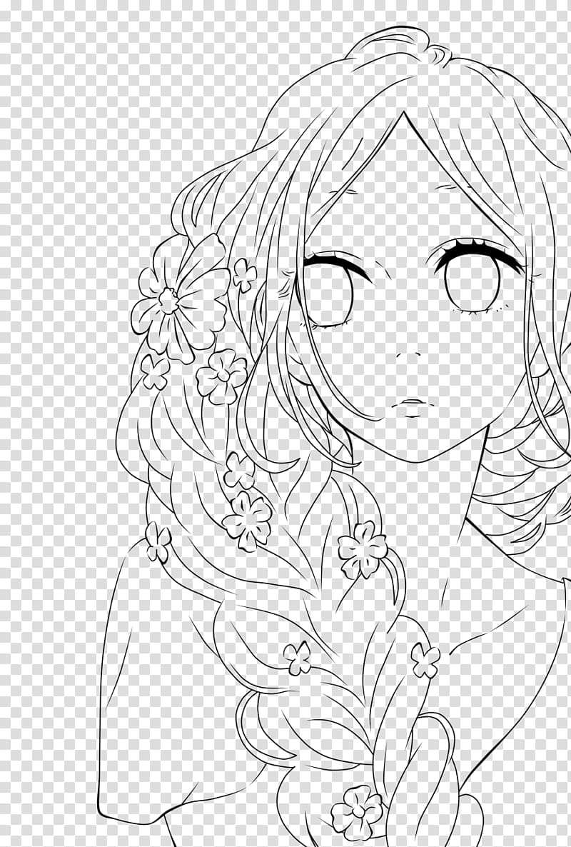 Hibi Chouchou Line art, woman with braided hair drawing.