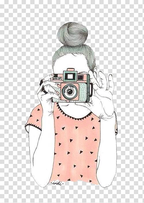 Overlays, woman holding camera illustration transparent.