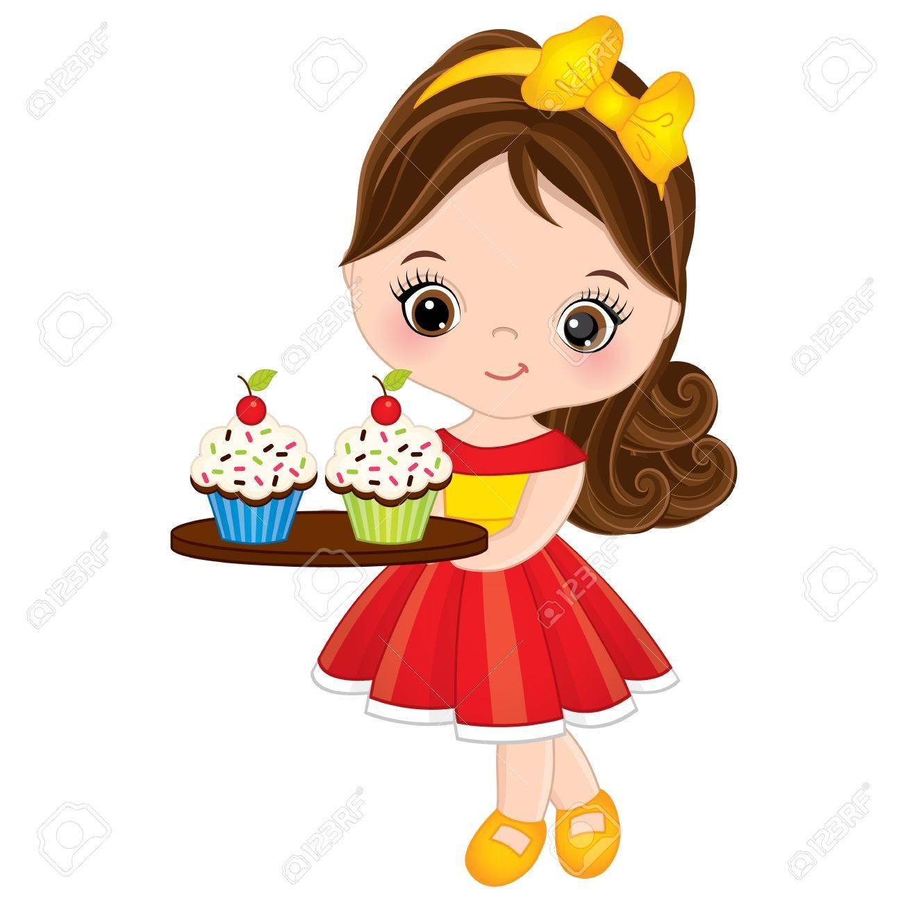 Girl Eating Cupcake Clipart.