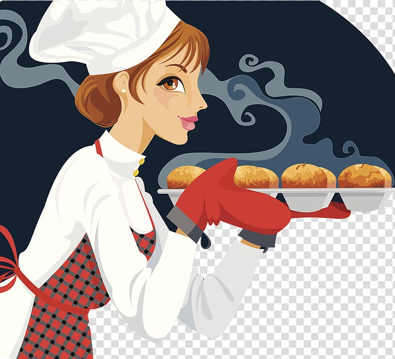 Woman carrying baked bread illustration, Cheesecake Cupcake.