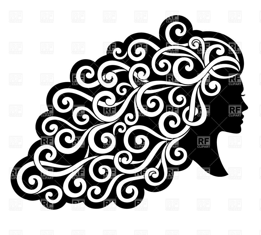 Silhouette of a woman with curly ornamented hair Stock.