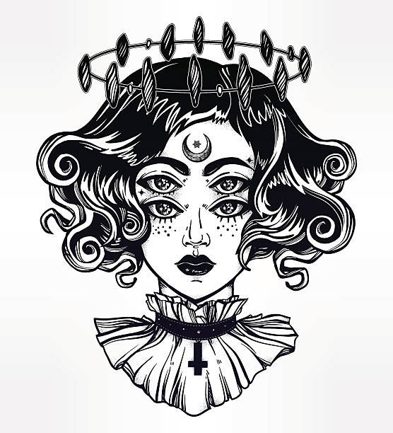 Sexy Gothic Women Drawing Clip Art, Vector Images & Illustrations.