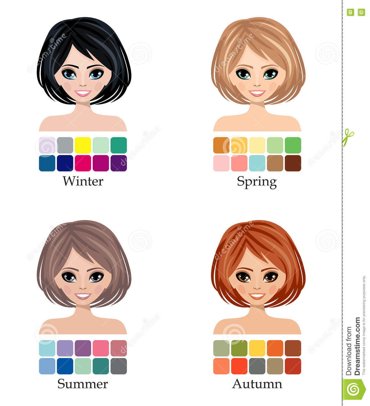 Seasonal Four Color Type Of Woman Face Stock Vector.