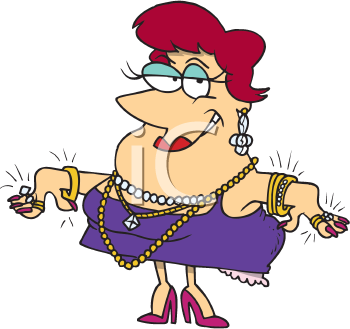 Royalty Free Clipart Image of a Woman With a Lot of.