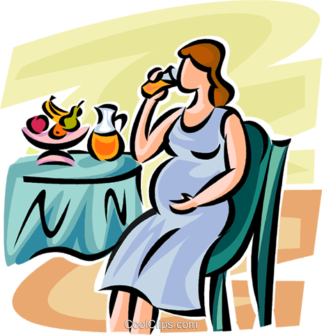 pregnant woman drinking juice Royalty Free Vector Clip Art.