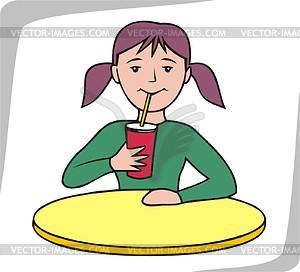 Girl drinking juice.