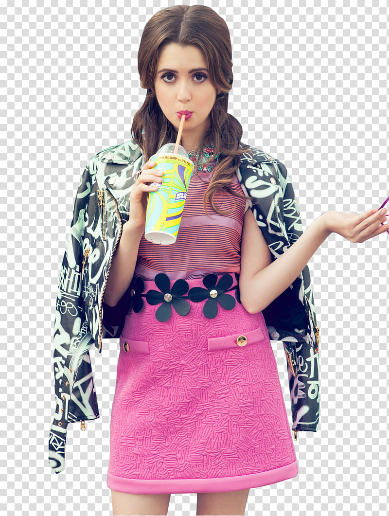 Laura Marano, woman holding and drinking juice transparent.