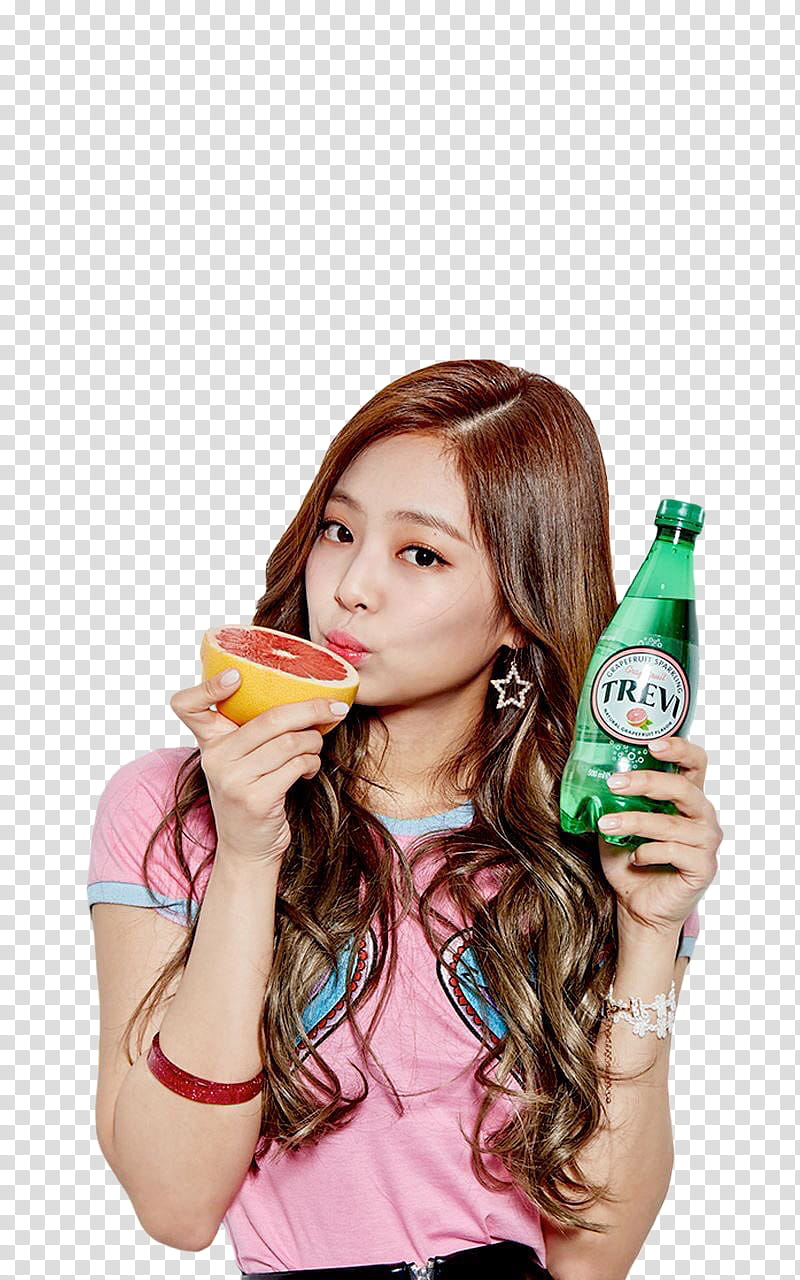 BLACKPINK, woman holding Trem bottle and orange fruit.