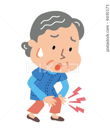 Elderly women suffering from knee pain.