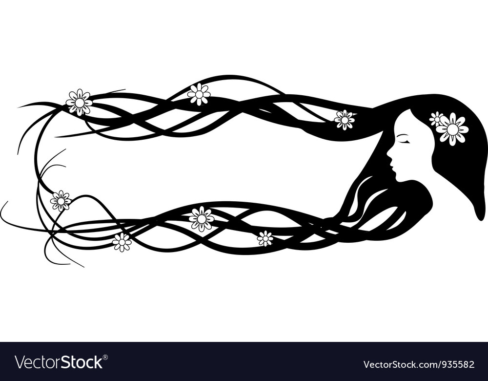Banner of beautiful woman with very long hair.