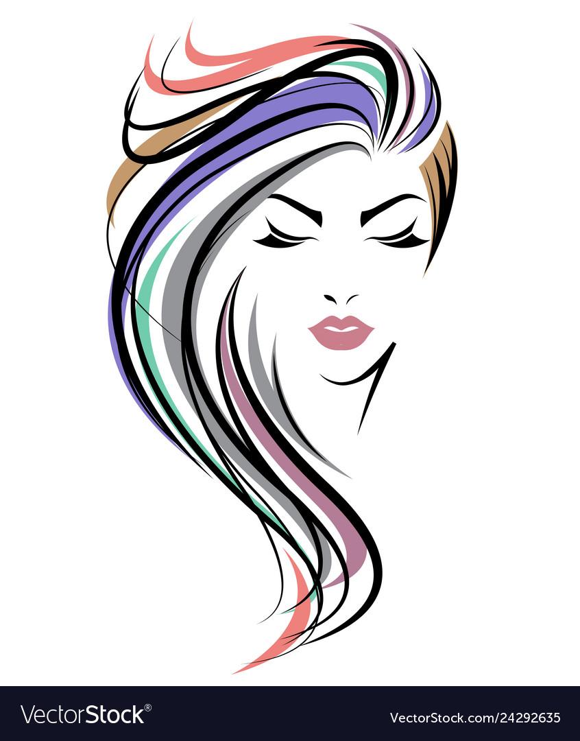 Women long hair style icon logo women face on.