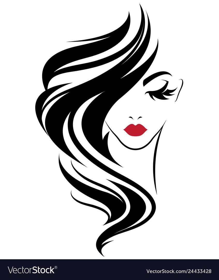 Women long hair style icon logo women on white.
