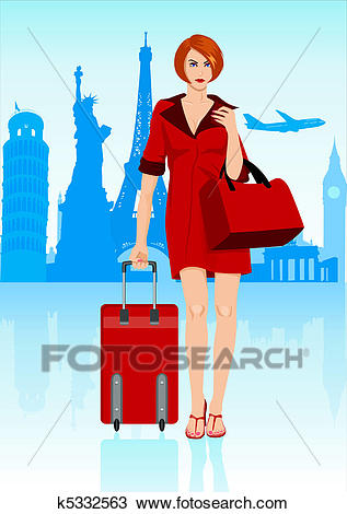 Woman With Luggage Clipart.