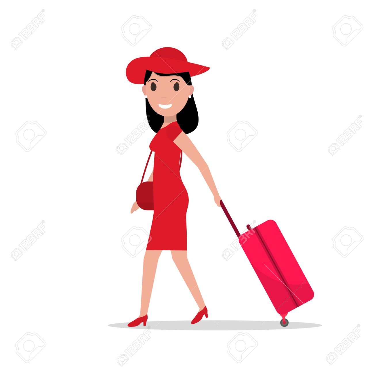Vector illustration of cartoon fashionable girl with a suitcase...