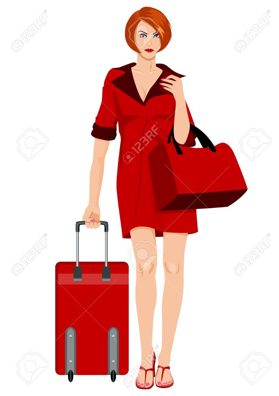 Woman with luggage clipart » Clipart Portal.