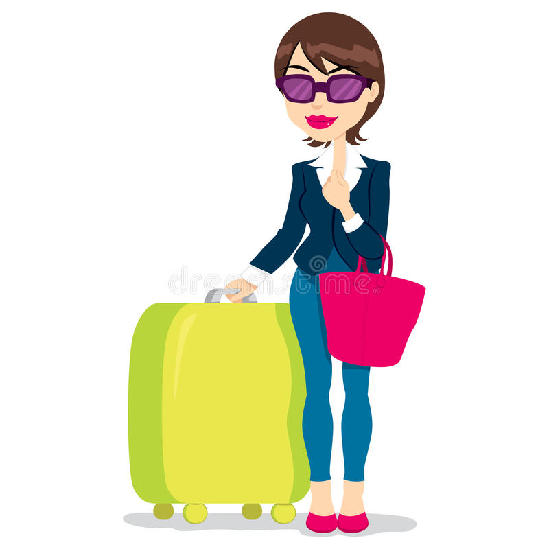 Woman Luggage Stock Illustrations.