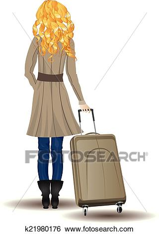 Blonde Woman with Suitcase Clip Art.