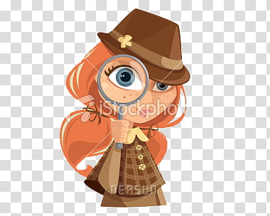Nenas, woman in brown dress with hat holding magnifying.