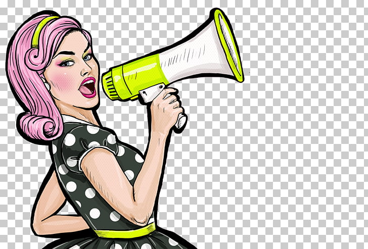 Pop art Stock photography Female, Megaphone, woman holding.