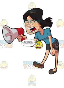 A Woman Shouting Angrily Using A Megaphone.