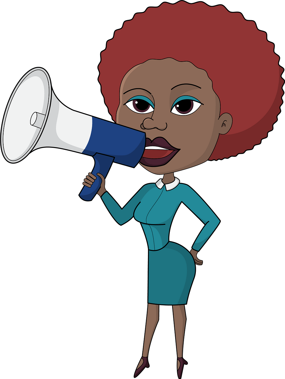 Business woman with megaphone clipart. Free download.