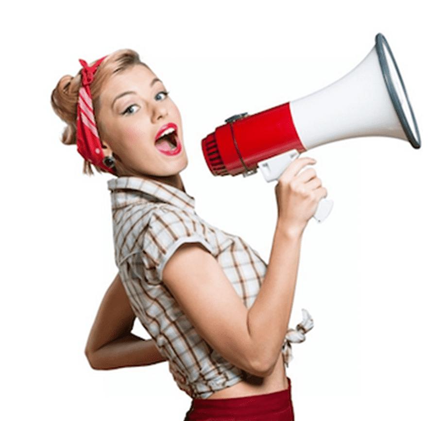 Woman holding megaphone, Woman Screaming graphy Megaphone.