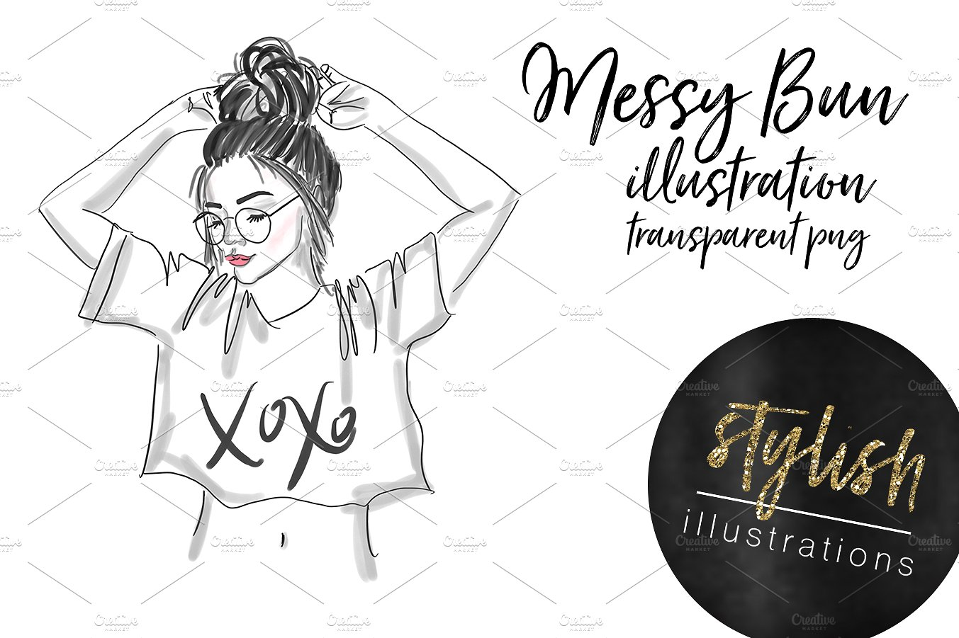 Messy Bun Girl ~ Illustrations on Creative Market.