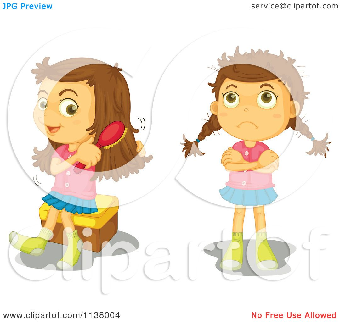 Cartoon Of A Girl Shown Brushing Her Hair And With Messy Hair.