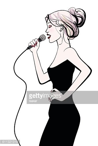 Woman singing with microphone Clipart Image.