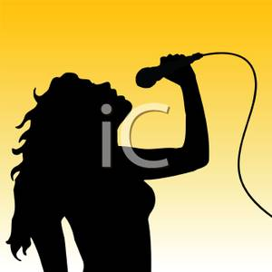 A Silhouette of a Woman Singing Into a Microphone Clipart Image.
