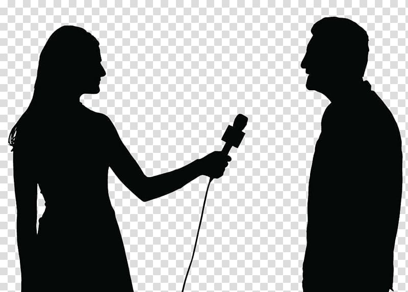 Silhouette of woman holding microphone beside man.