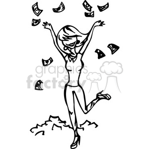 women throwing money in the air clipart. Royalty.