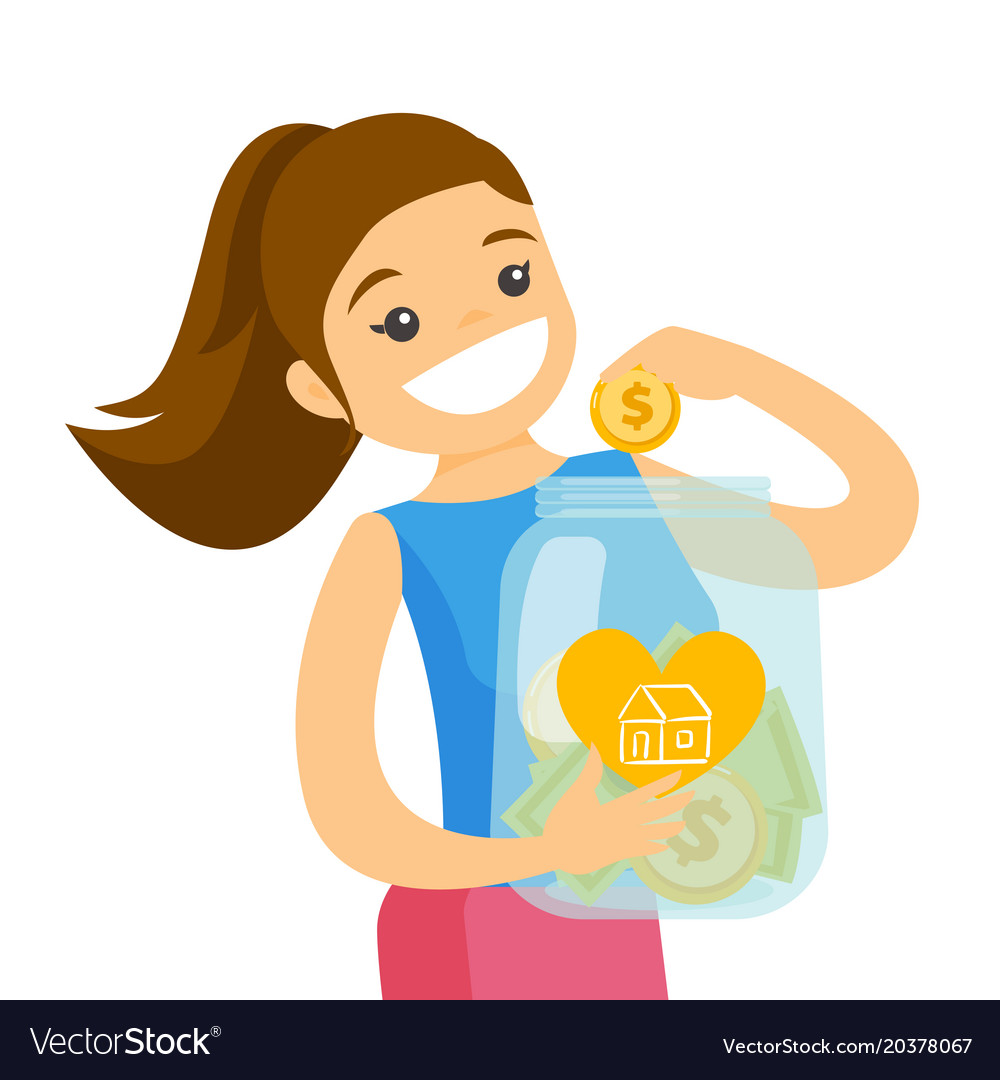 Woman saving money in glass jar to buy a house.