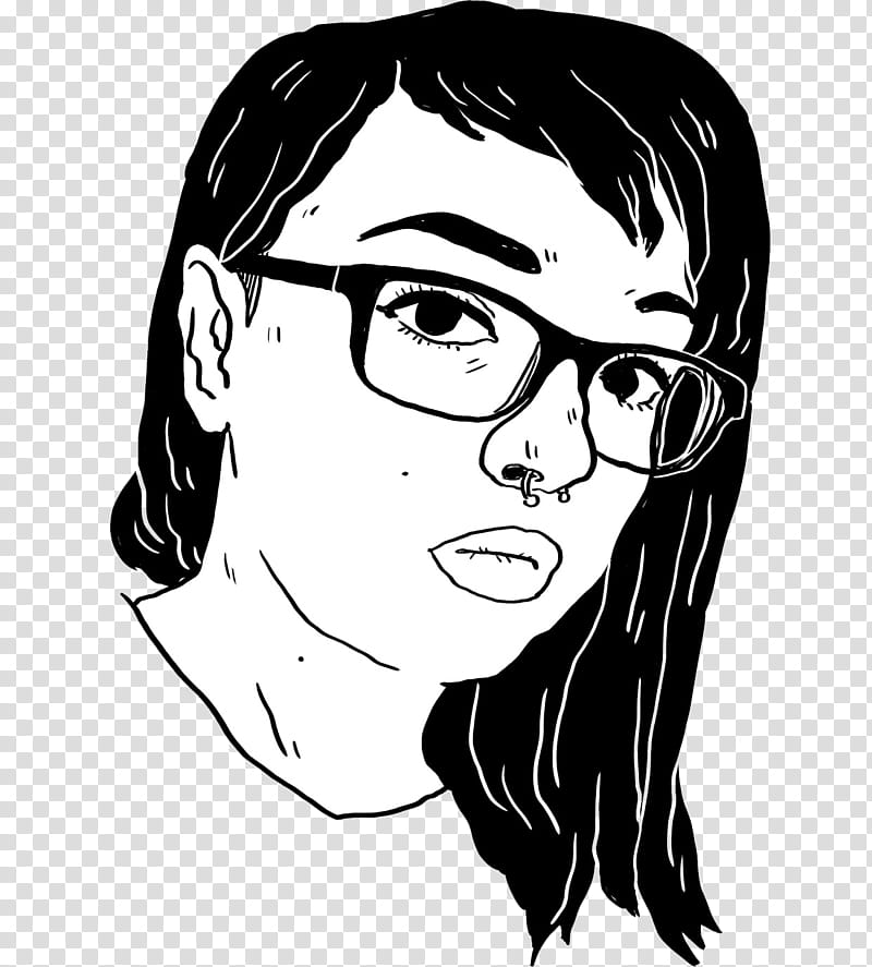 Sketch of woman with nose ring and eyeglasses transparent.