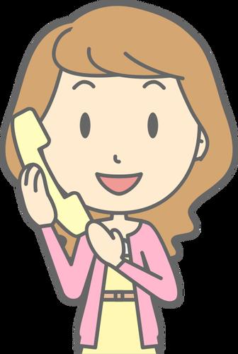 Woman using telephone.