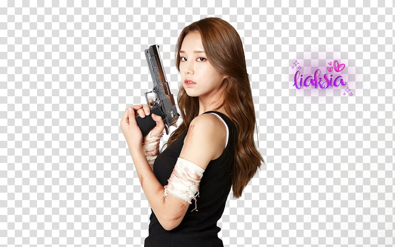 Woman holding pistol transparent background PNG clipart.