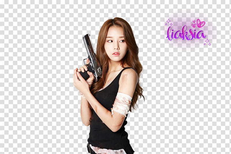 Woman wearing camisole holding pistol transparent background.