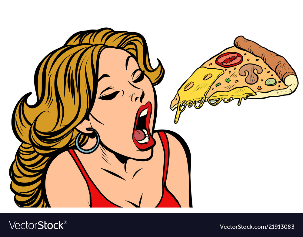 Woman eating pizza.