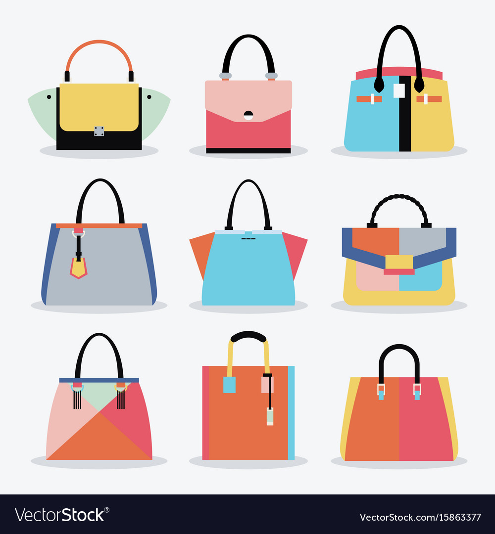 Retro colorful women handbags and purse set.