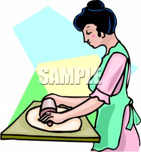 Woman Rolling Pie Dough.