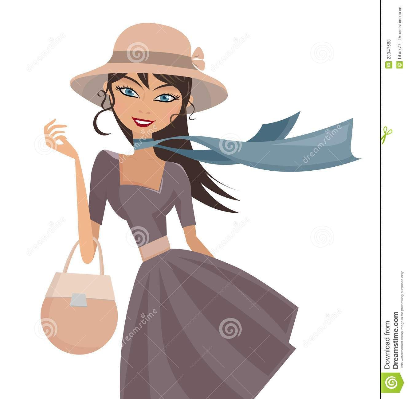 Happy Elegant Lady With Hat And Scarf Royalty Free Stock.