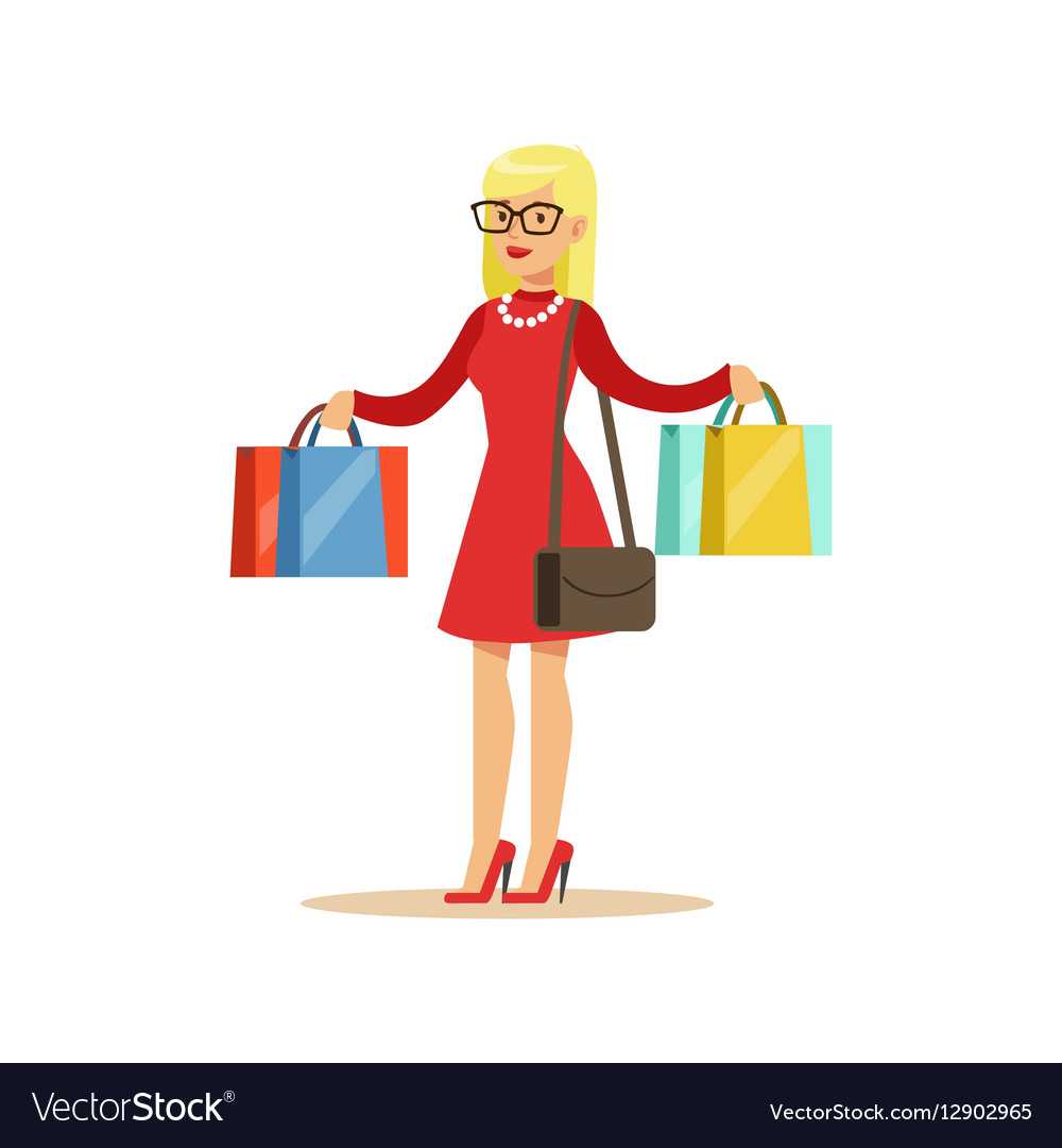 Woman With Many Paper Bags Shopping In Department.