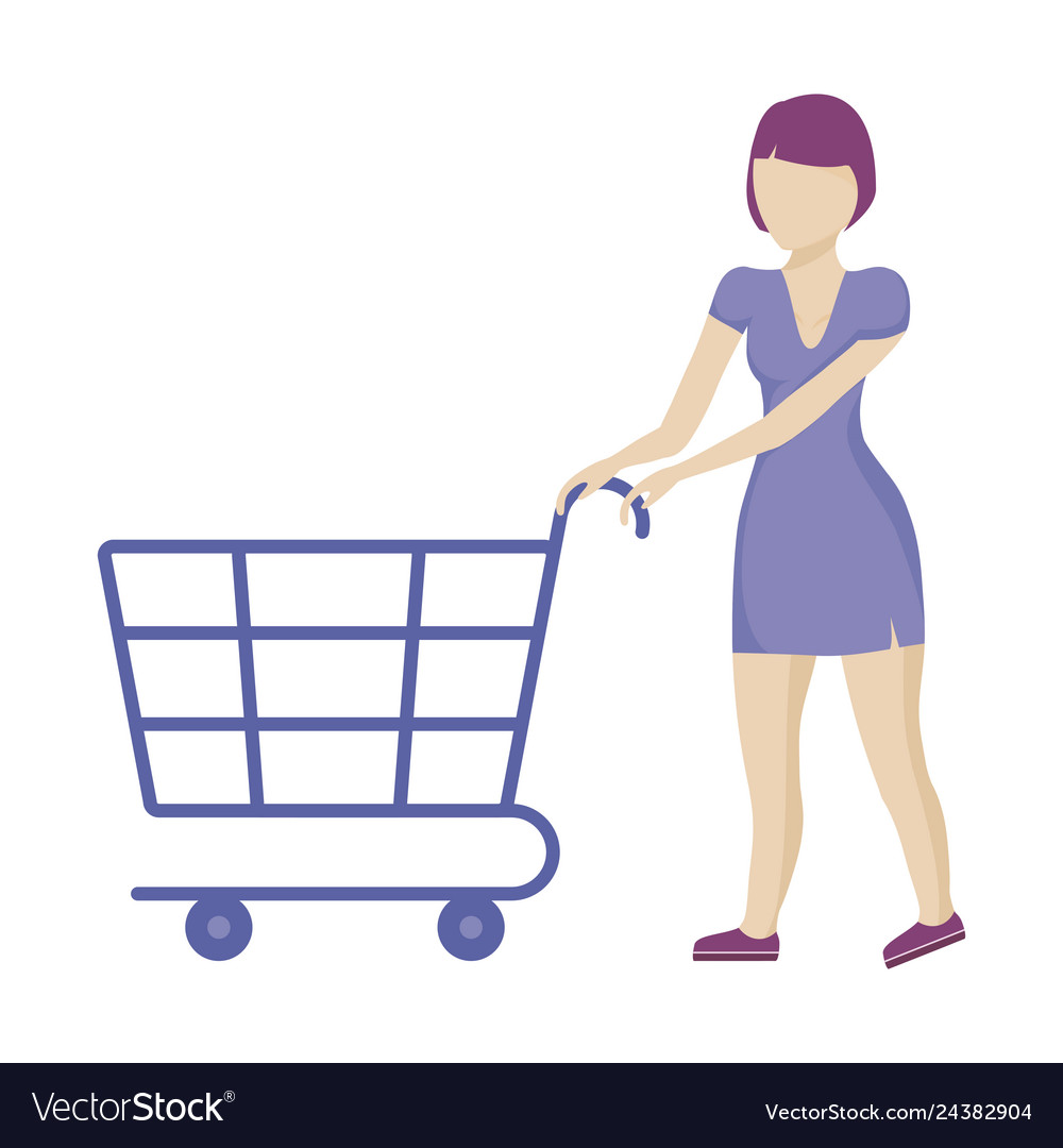 Woman with shopping cart isolated icon.