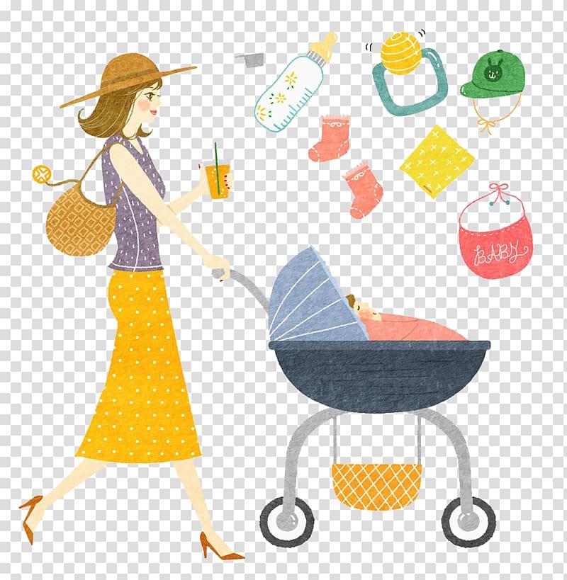 Woman pushing pram stroller , Baby food Mother Baby.